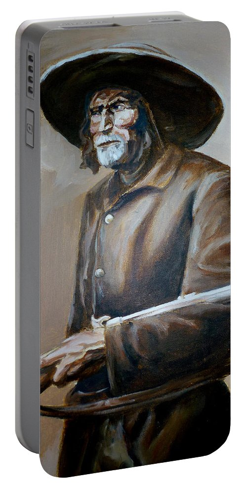 Trapper Portable Battery Charger featuring the painting Trapper by Bryan Bustard