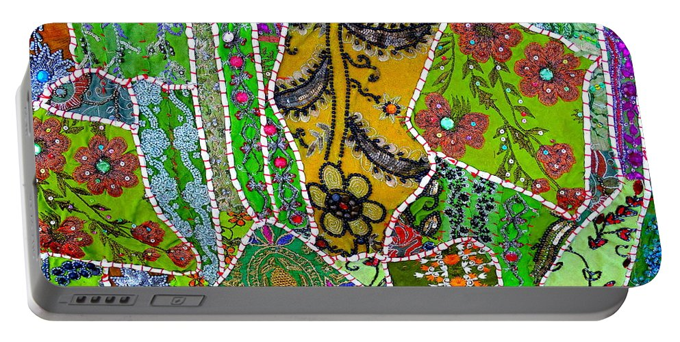 Travel Portable Battery Charger featuring the photograph Travel Shopping Colorful Tapestry 8 India Rajasthan by Sue Jacobi