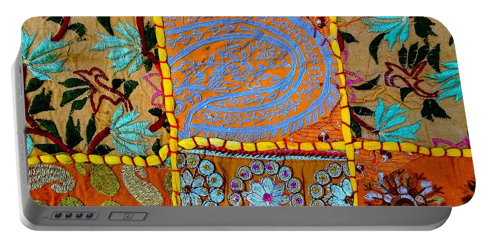 Travel Portable Battery Charger featuring the photograph Travel Shopping Colorful Tapestry 9 India Rajasthan by Sue Jacobi