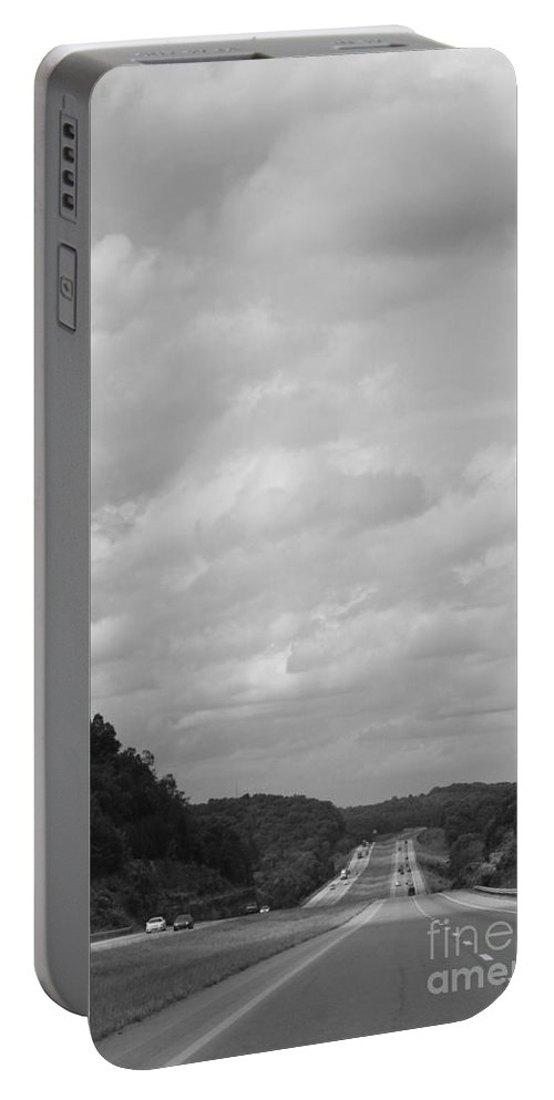 Black And White Portable Battery Charger featuring the photograph Traveling Home Again by Jennifer E Doll