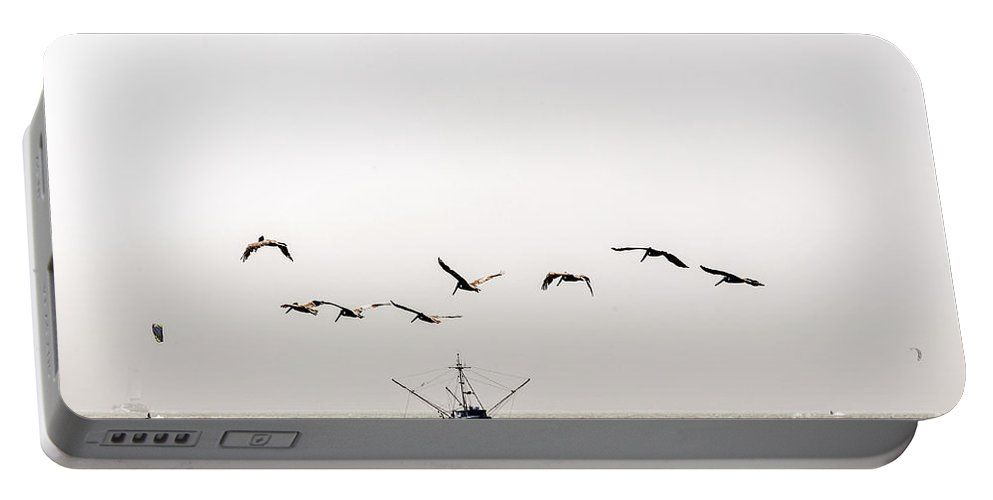 Bay Portable Battery Charger featuring the photograph Trawler And Pelicans by Kate Brown
