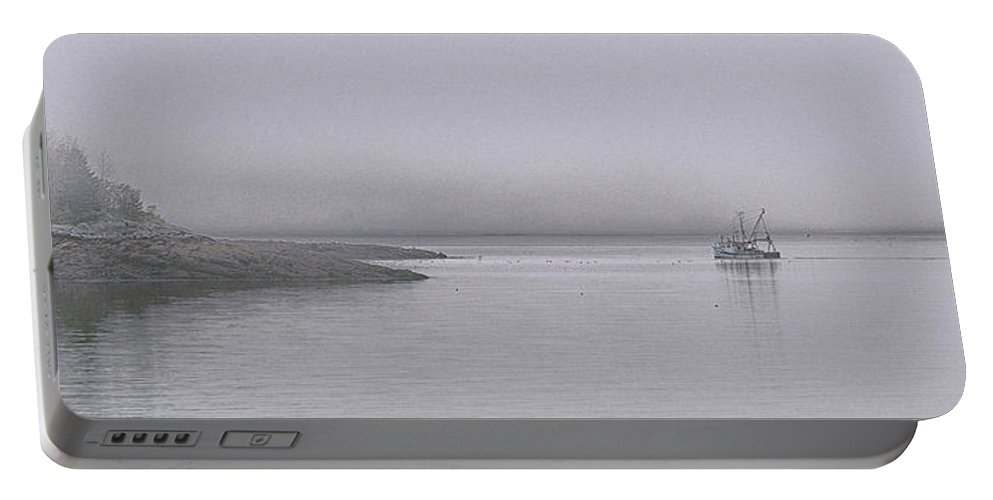 Trawler Portable Battery Charger featuring the photograph Trawler In Fog by Marty Saccone