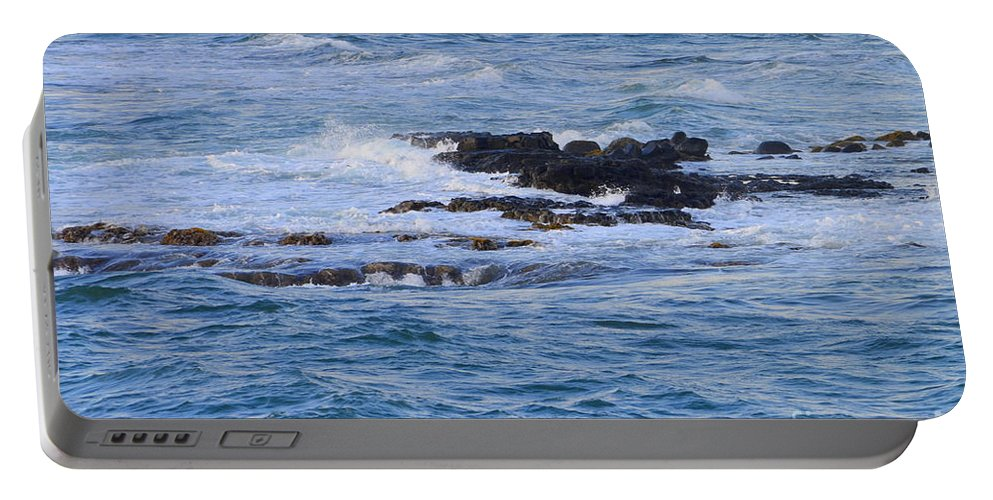 Ocean Portable Battery Charger featuring the photograph Treacherous Shorebreak by Mary Deal