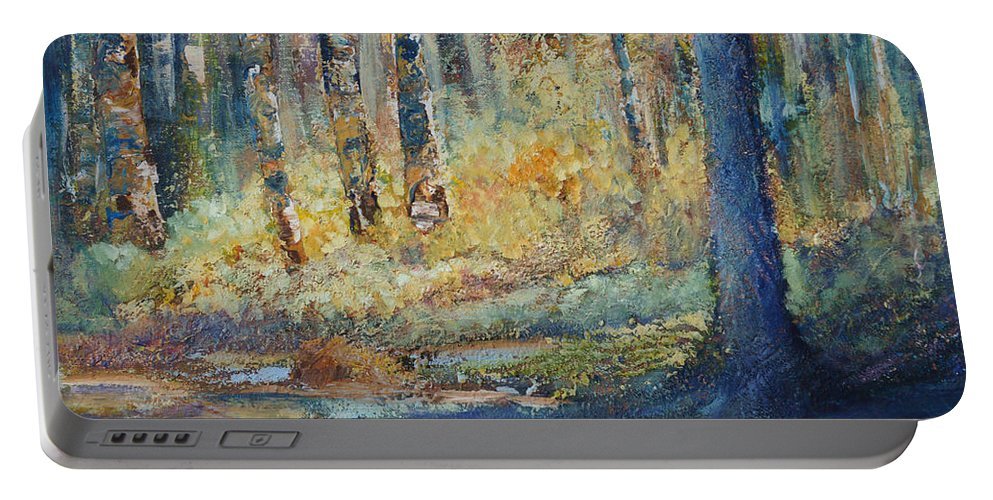 Trans Canada Trail Portable Battery Charger featuring the painting Natural Treasure by Jo Smoley