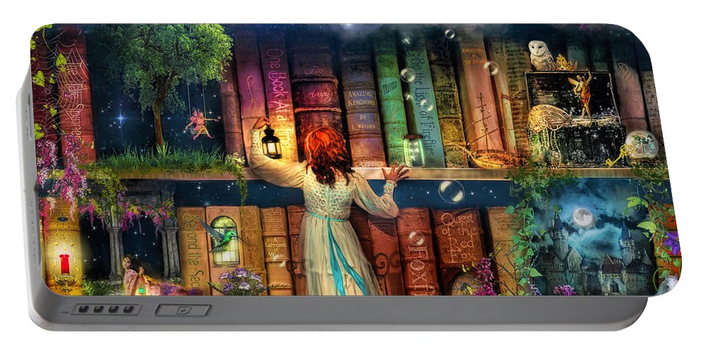 Fairytale Portable Battery Charger featuring the digital art Fairytale Treasure Hunt Book Shelf Variant 2 by Aimee Stewart