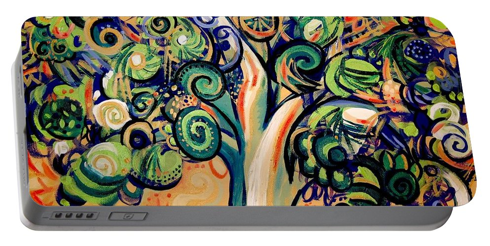 Tree Portable Battery Charger featuring the painting Tree Candy 2 by Genevieve Esson