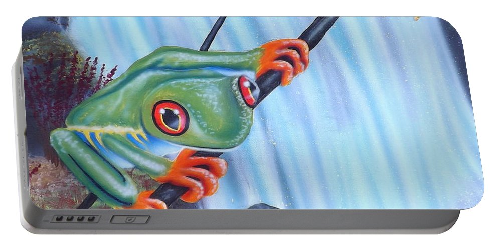 Tree Frog Portable Battery Charger featuring the painting Tree Frog by Darren Robinson