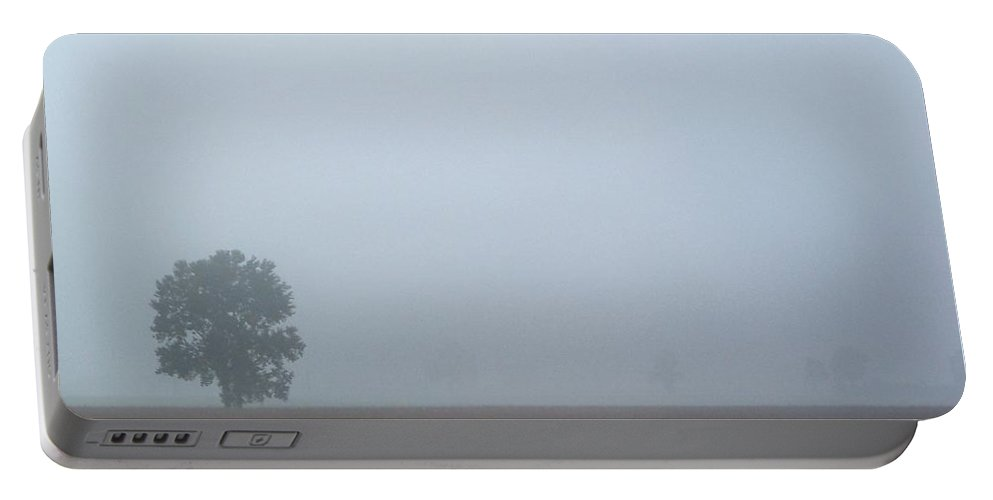 Landscape Portable Battery Charger featuring the photograph Tree In Mist by Katie Beougher