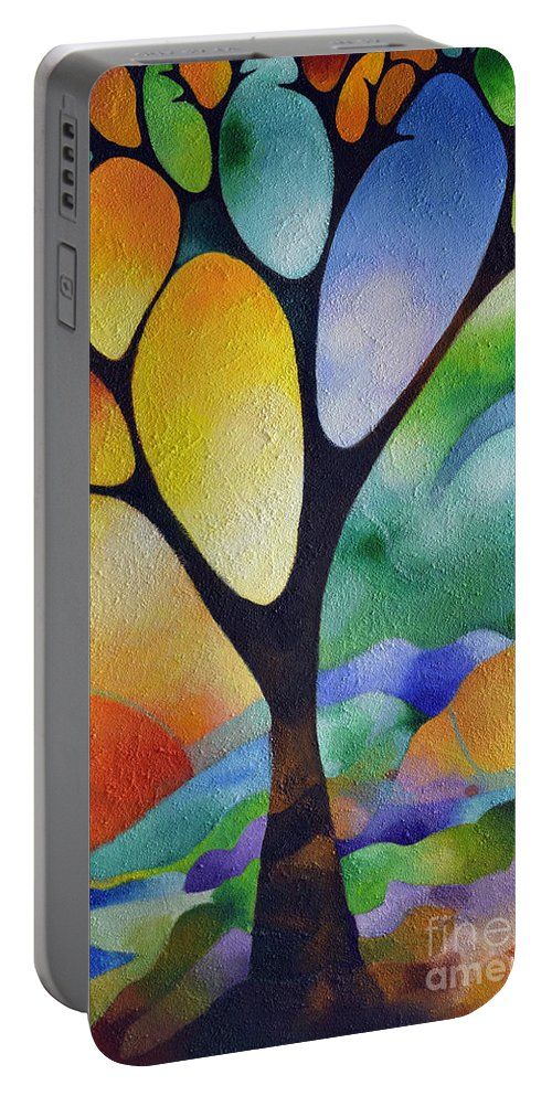 Abstract Portable Battery Charger featuring the painting Tree Of Joy by Sally Trace