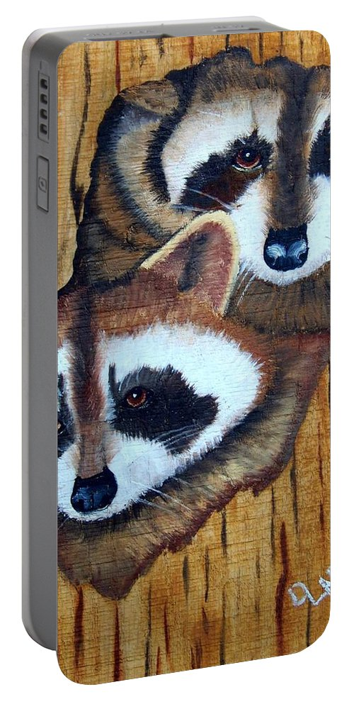 Raccoon Portable Battery Charger featuring the painting Tree Raccoons by Debbie LaFrance