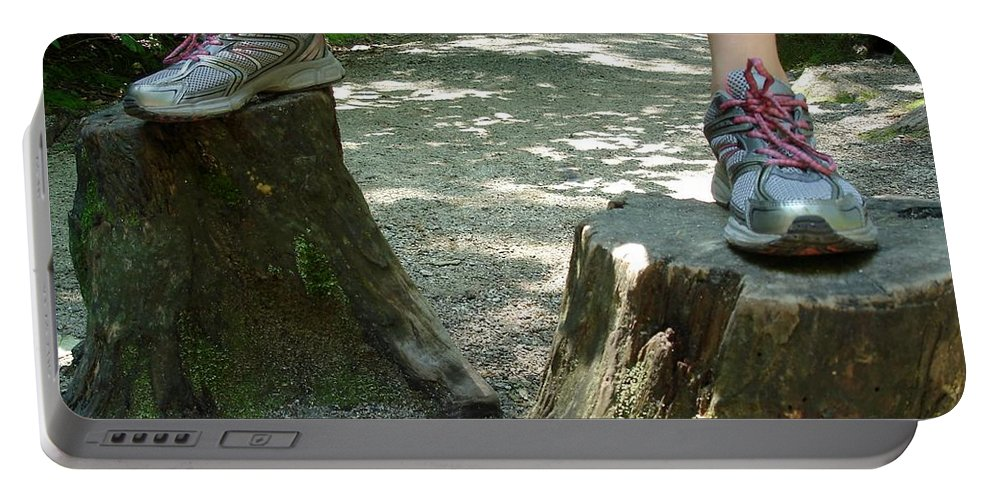 Tree Portable Battery Charger featuring the photograph Tree Stump Stilts by Kerri Mortenson