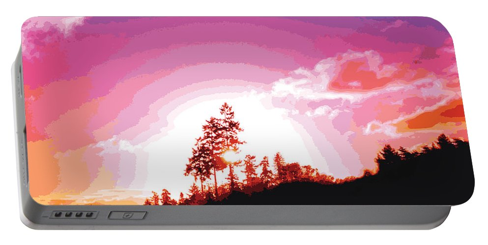 Abstract Portable Battery Charger featuring the digital art Tree Top Sunrise by James Kramer