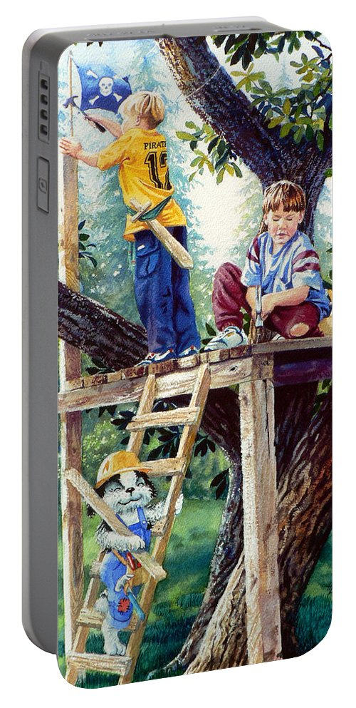 Kids Dog Treehouse Print Portable Battery Charger featuring the painting Treehouse Magic by Hanne Lore Koehler
