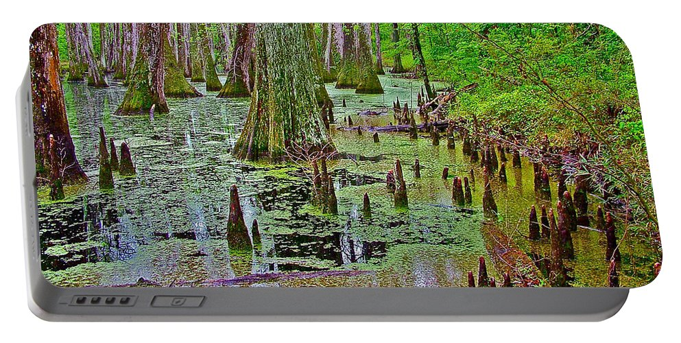 Trees And Knees In Tupelo/cypress Swamp At Mile 122 Of Natchez Trace Parkway Portable Battery Charger featuring the photograph Trees And Knees In Tupelo/cypress Swamp At Mile 122 Of Natchez Trace Parkway-mississippi by Ruth Hager