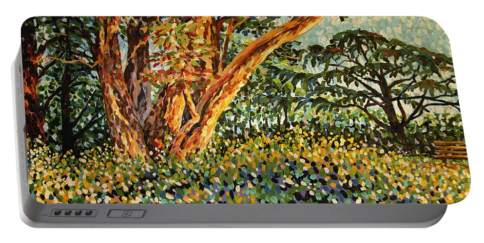 Bonnie Follett Portable Battery Charger featuring the painting Trees At Sunset In Lafayette Park by Bonnie Follett