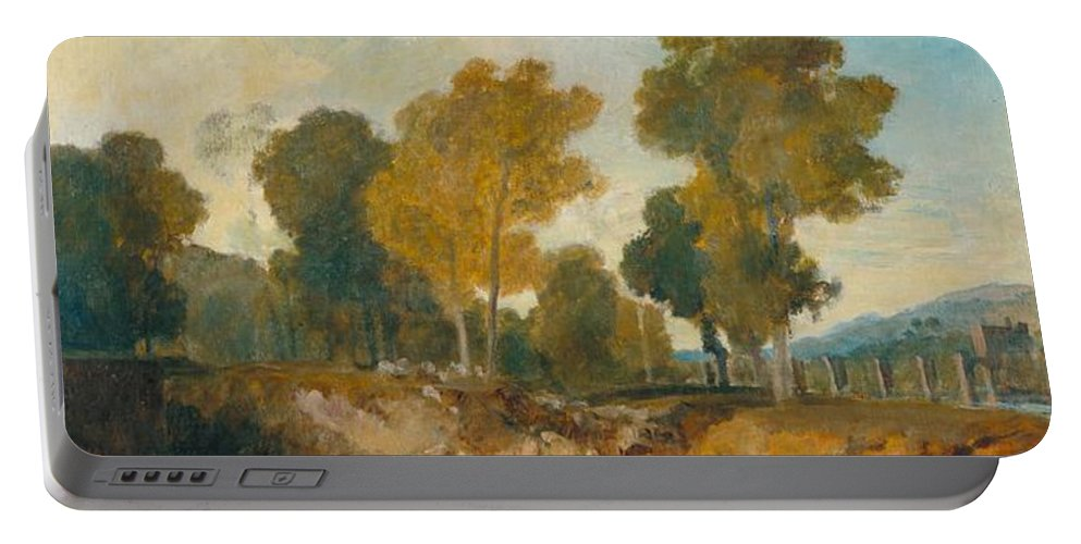 1806 Portable Battery Charger featuring the painting Trees Beside The River by JMW Turner