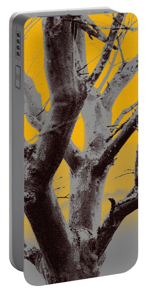 Tree Art Portable Battery Charger featuring the photograph Winter Trees In Yellow Gray Mist 1 by Olivia Novak