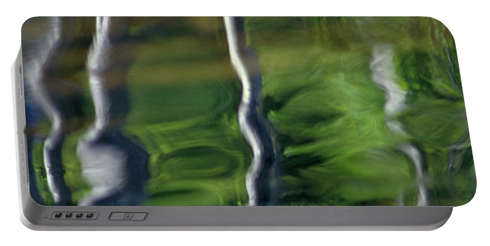 Nature Portable Battery Charger featuring the photograph Trees Reflections On The River by Heiko Koehrer-Wagner