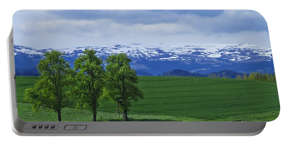 Nature Portable Battery Charger featuring the photograph Trees With Mountains by Ivan Slosar