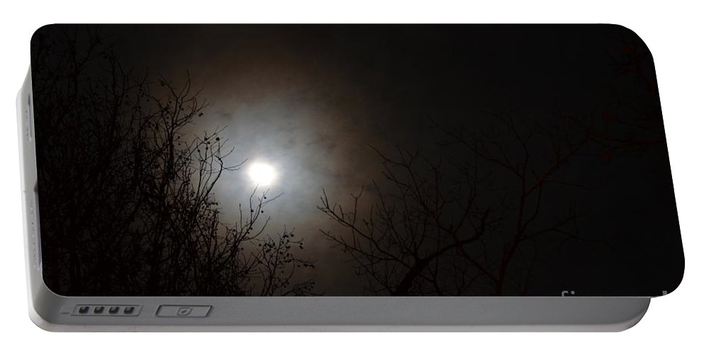 Treetop Moonlight 2013 Portable Battery Charger featuring the photograph Treetop Moonlight 2013 by Maria Urso