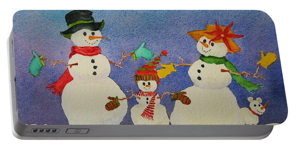 Winter Portable Battery Charger featuring the painting Tres Chic by Mary Ellen Mueller Legault