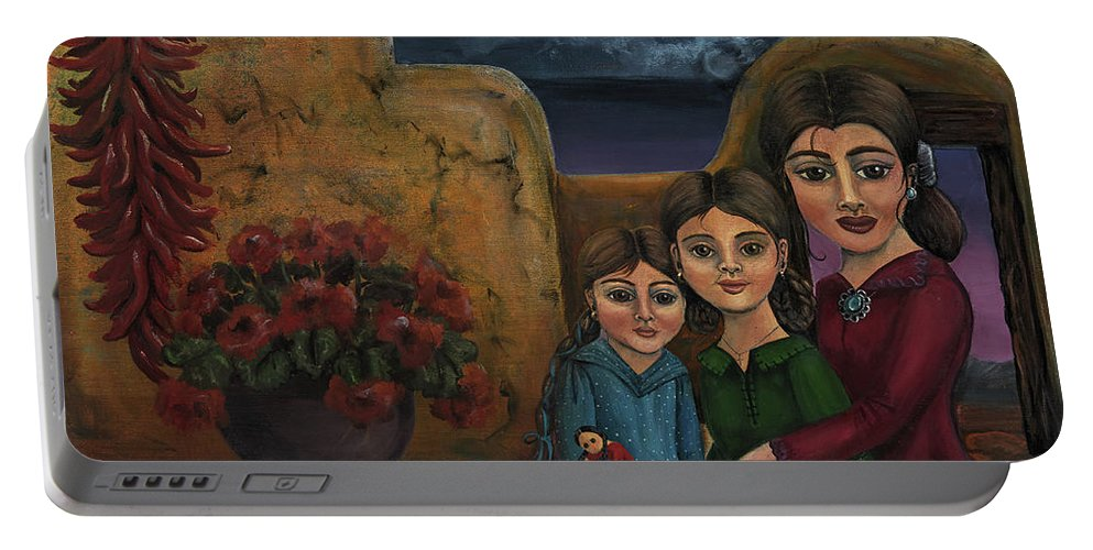 Mom Portable Battery Charger featuring the painting Tres Mujeres Three Women by Victoria De Almeida