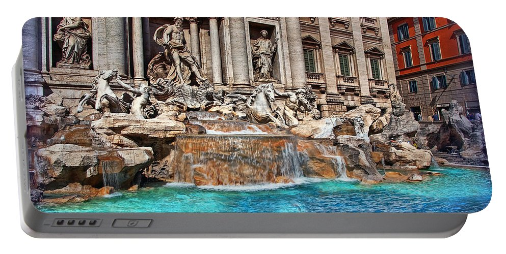 Rome Portable Battery Charger featuring the photograph Trevi Fountain by Hanny Heim