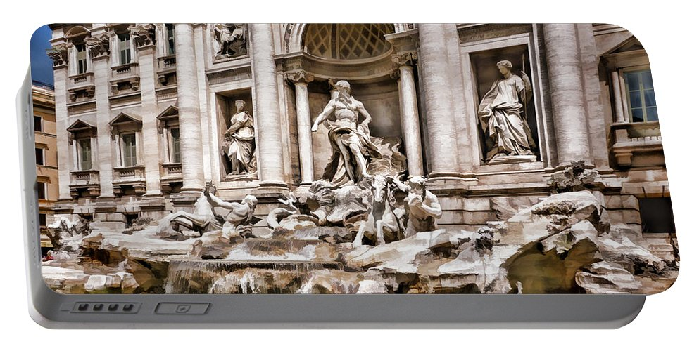Europe Italy Rome Trevi+fountain Ancient Fountain Tourist Travel International Dramatic Portable Battery Charger featuring the painting Trevi Fountain In Rome Italy by Elaine Plesser