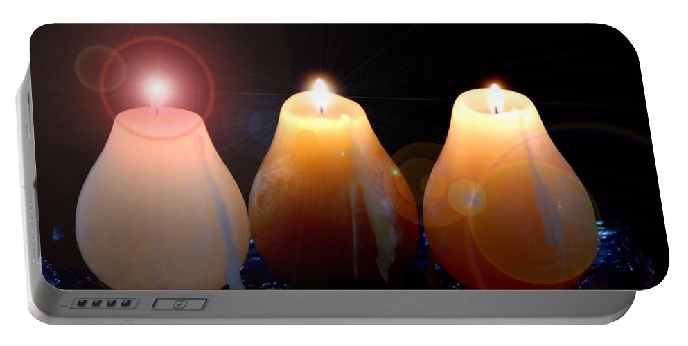 Portable Battery Charger featuring the photograph Tri Candles by Kathy McCabe