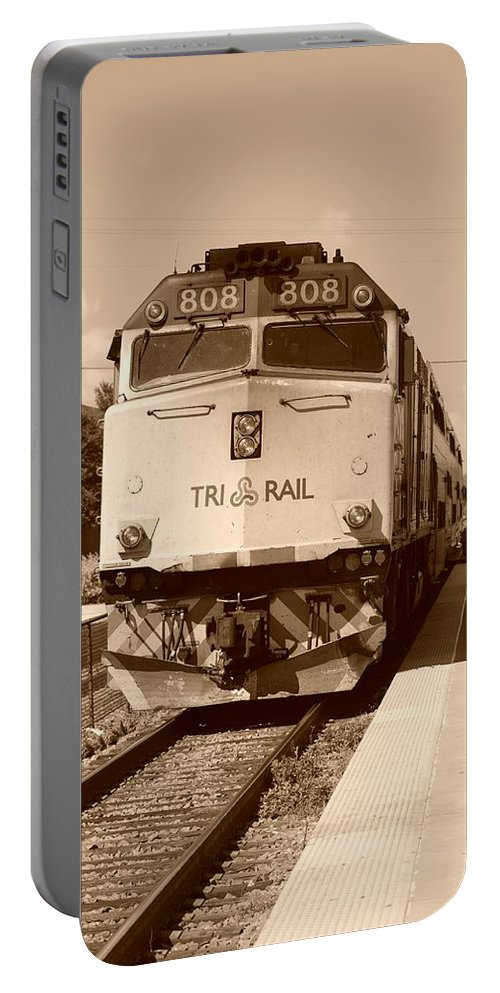Train Portable Battery Charger featuring the photograph Tri Rail 808 by Rob Hans