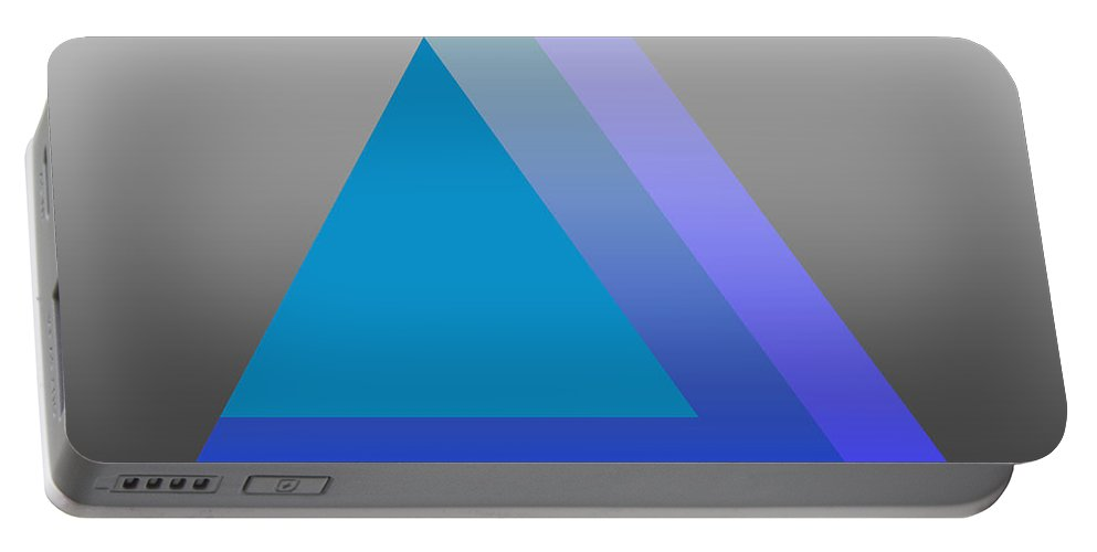 Digital-art Portable Battery Charger featuring the digital art Triangle Abstract Blue by Mary Clanahan