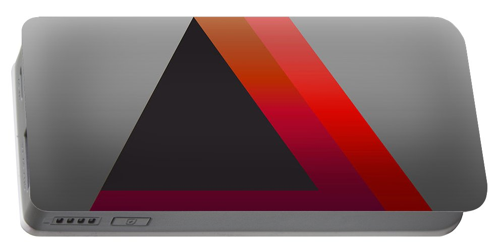 Digital-art Portable Battery Charger featuring the digital art Triangle Abstract Red Grey by Mary Clanahan