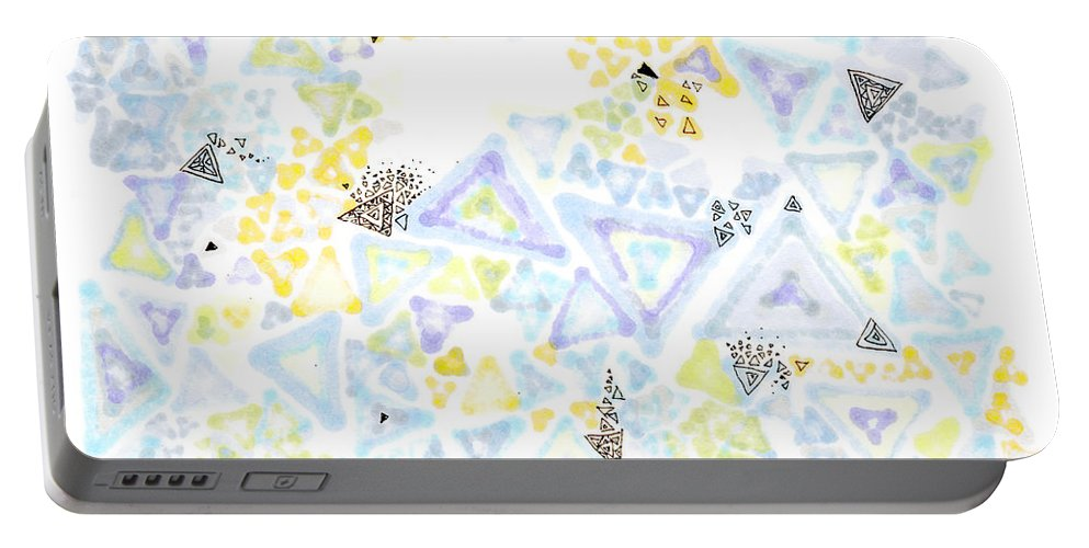 Triangle Portable Battery Charger featuring the painting Triangulation by Regina Valluzzi