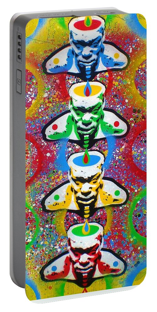 Red Portable Battery Charger featuring the painting Tribal Soup by Leon Keay
