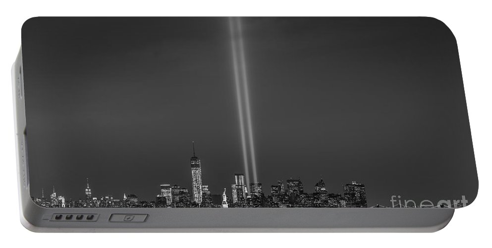 Nyc Portable Battery Charger featuring the photograph Tribute Lights Bw by Michael Ver Sprill
