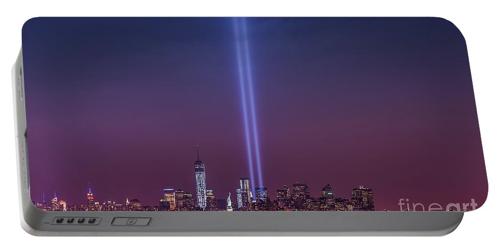 Tribute Lights Portable Battery Charger featuring the photograph Tribute Lights by Michael Ver Sprill
