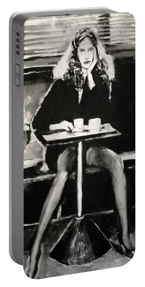 Portrait Art Portable Battery Charger featuring the painting Tribute To Helmut Newton by Jarmo Korhonen aka Jarko