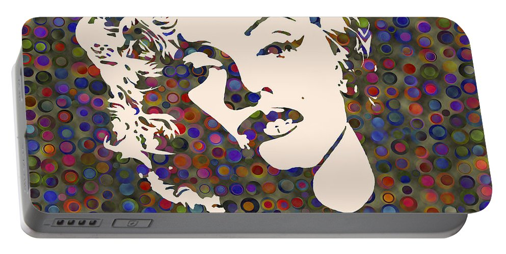 Marilyn Monroe Actress Portable Battery Charger featuring the painting Tribute To Marilyn Monroe by Georgeta Blanaru