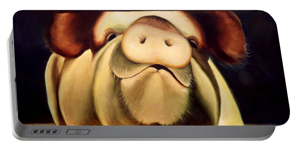 Pigs Portable Battery Charger featuring the painting Tricia The Pig by Anni Adkins