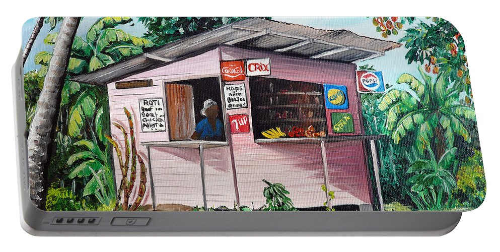 Shop Painting Portable Battery Charger featuring the painting Trini Roti Shop by Karin Dawn Kelshall- Best
