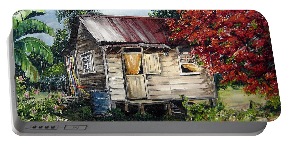 Landscape Paintings Tropical Paintings Trinidad House Paintings House Paintings Country Painting Trinidad Old Wood House Paintings Flamboyant Tree Paintings Caribbean Paintings Greeting Card Paintings Canvas Print Paintings Poster Art Paintings Portable Battery Charger featuring the painting Trinidad Life 1 by Karin Dawn Kelshall- Best