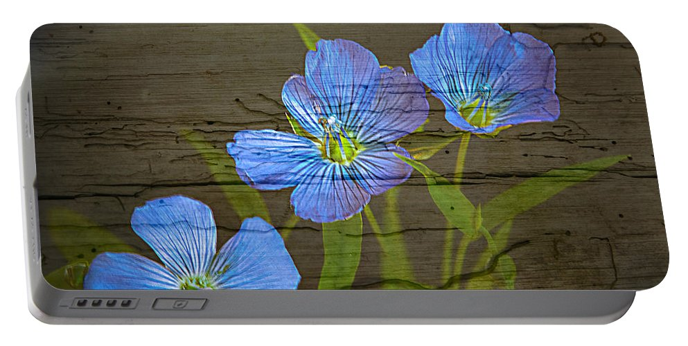 Flowers Portable Battery Charger featuring the photograph Triple Blues by Randall Branham