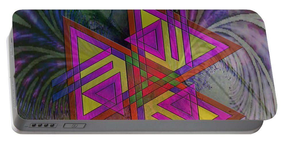 Triangles Portable Battery Charger featuring the digital art Triple Harmony - Square Version by John Beck