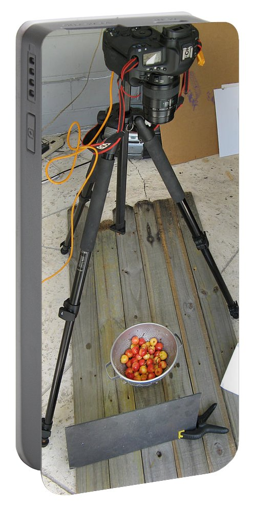 Cherries Portable Battery Charger featuring the photograph Tripod And Cherries On Floor by Rich Franco