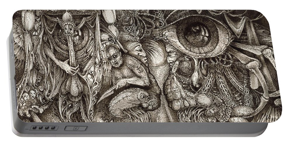 Surreal Portable Battery Charger featuring the drawing Tripping Through Bogomils Mind by Otto Rapp