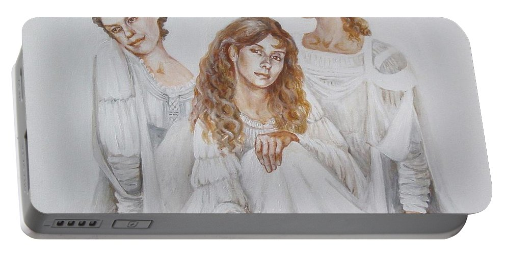 People Portable Battery Charger featuring the painting Trois by Marina Gnetetsky
