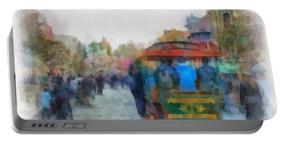 Disney Portable Battery Charger featuring the photograph Trolley Car Main Street Disneyland Photo Art 01 by Thomas Woolworth