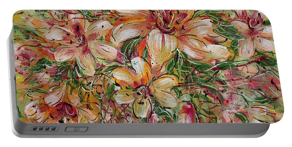 Expressionism Portable Battery Charger featuring the painting Tropical Beauties by Natalie Holland