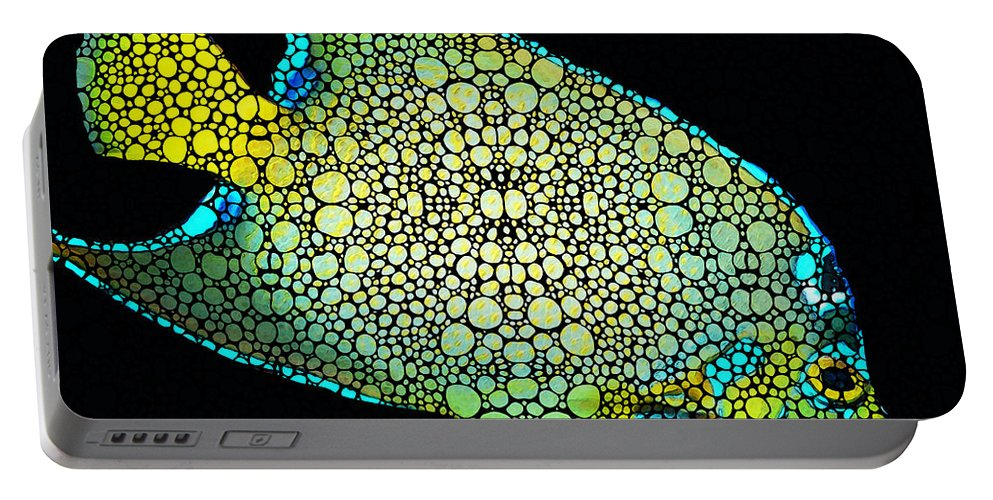 Fish Portable Battery Charger featuring the painting Tropical Fish Art 8 - Abstract Mosaic By Sharon Cummings by Sharon Cummings