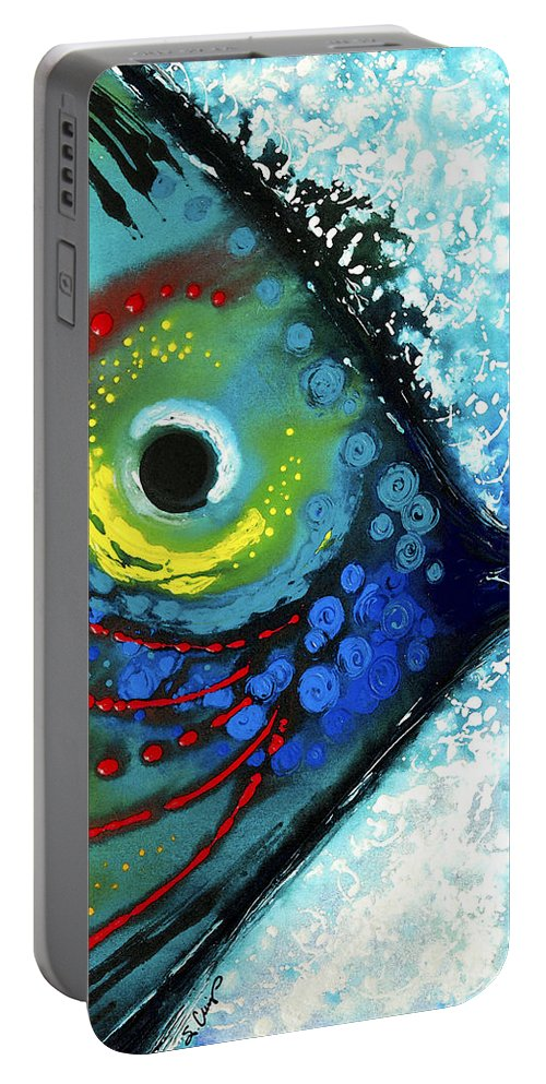 Sharon Cummings Portable Battery Charger featuring the painting Tropical Fish - Art by Sharon Cummings by Sharon Cummings